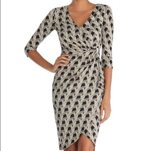White House Black Market Print Tulip Wrap Dress 6